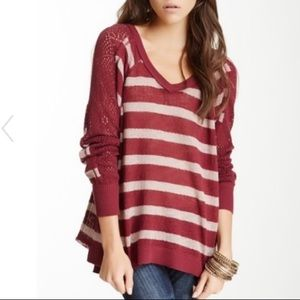 Free People Fluffy Lou Crochet Sleeve sweater